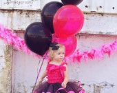 Lolita Tutu Set. Black/Hot Pink Polka Dot ribbon edged Tutu. Sizes from 6 months up to 4T. Birthday, Photography Prop, Pageants