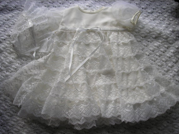 Sally's tiered lace Christening gown
