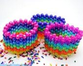 Rainbow Kandi Cuff Magic- Three different rainbow kandi cuffs rave plur
