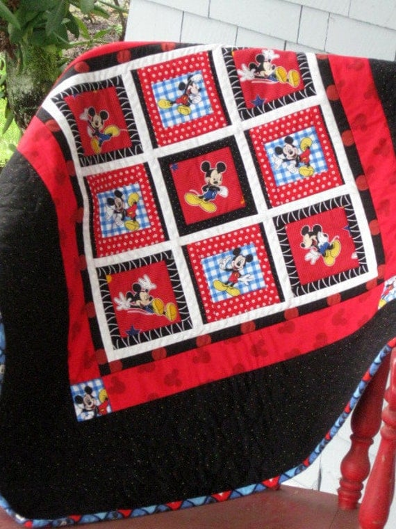 Disney Mickey Mouse Childs Quilt By Boyishcharmandco On Etsy