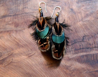 Unique Pheasant Feather Earrings