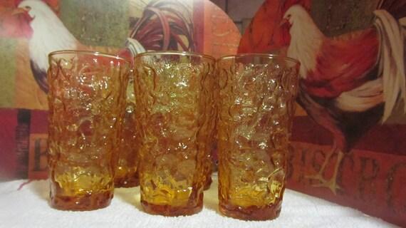 Vintage Anchor Hocking Amber Glasses (6)