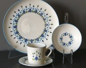 Stetson Mar-crest Swiss Chalet  Place Setting Plate Bowl Cup and Saucer with Original Box Mid Century Dinnerware