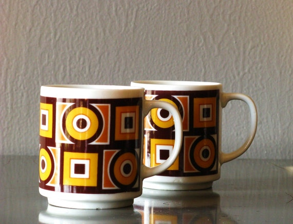 Mid Century Geometric Coffee Mugs Sienna Ware by Imperial Made in Japan