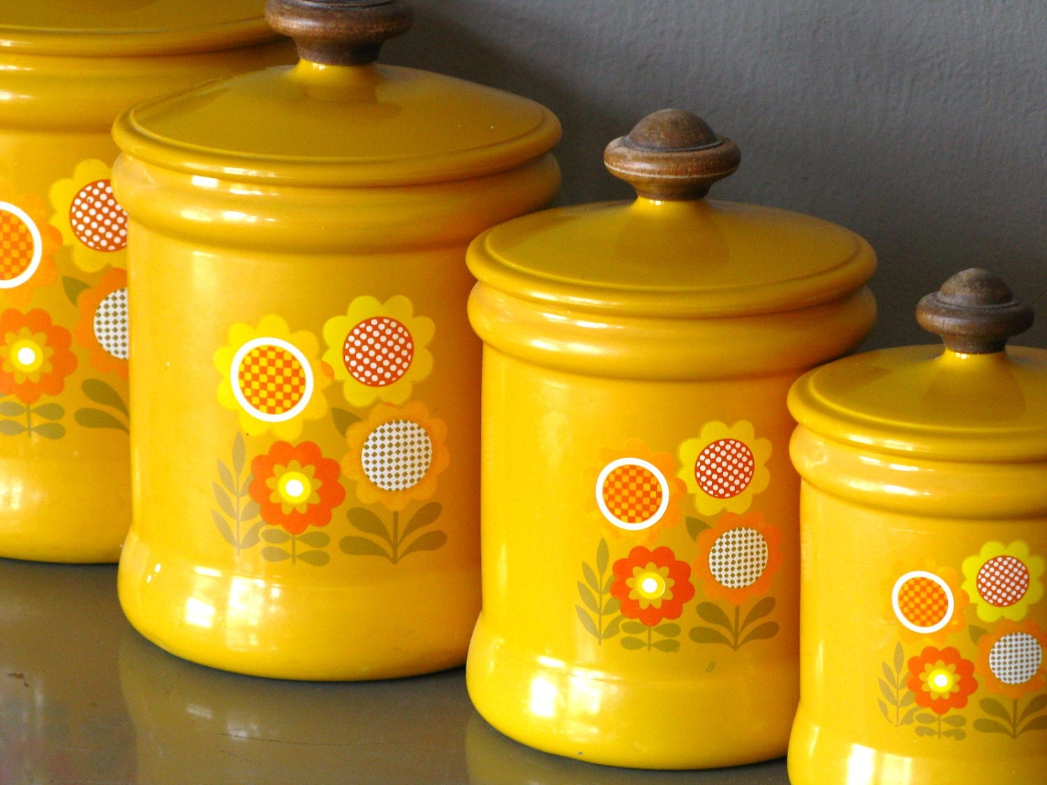 kitchen canister set metal yellow flower by by ladyfromshanghai