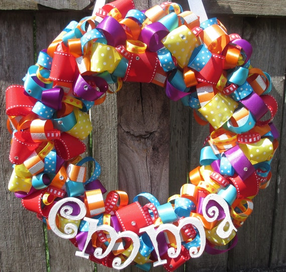 Circus Themed Ribbon Wreath with Wooden Letter Name for Birthday Party or Baby Shower