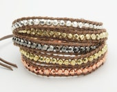 Wrap Bracelet  Gold Copper Silver Beads -  Christmas Special