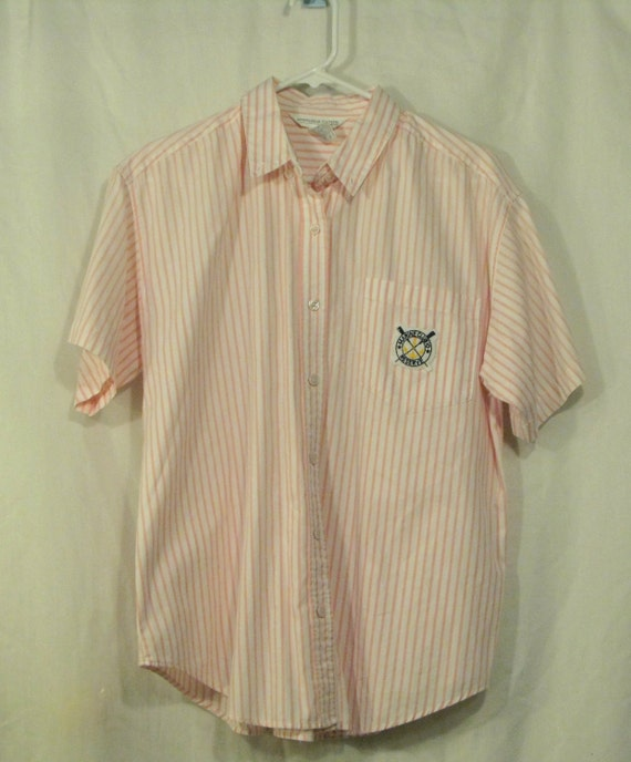 50% OFF // Pink and White Striped Marine Club Collared Shirt