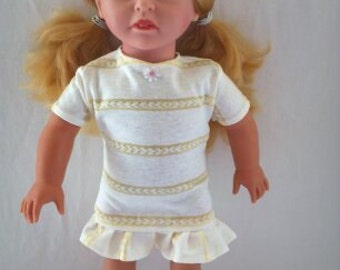White with Yellow Stripe Dress with Ruffled Bottom and White Flower Button for American Girl Dolls (DC77)