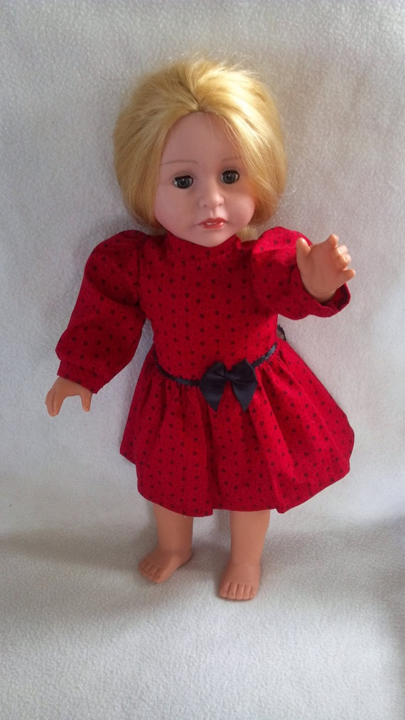 Handmade for American Girl Long Sleeve Red Dress with Black Flowers and Black Bow and Stand Up Collar (DC25) Cyber Monday Etsy