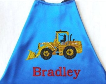 Super Hero Cape,  Embroidered Construction Loader Personalized with Name Royal Blue