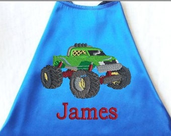 Boy's Cape,  Embroidered Monster Truck  Personalized with Monogram Royal Blue