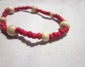 Beaded Red & Wood Bracelet - Hippie Boho - Ankle Bracelet