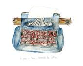La machine à écrire bleue (The Blue Typewriter). Limited edition print by Julie Lequin