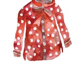 Polka dots shirt. Limited edition print by Julie Lequin