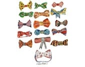 Noeuds Papillon (Selection of Bow Ties). Limited edition print by Julie Lequin