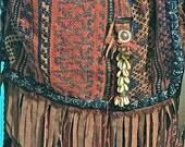TAOS -- Fringed Horseblanket Carpetbag, messenger, one of a kind, tribal -- CUSTOM ORDER