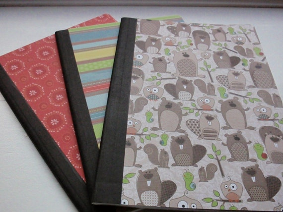 Woodland Friends Full Sized, Altered Composition Notebook Set of 3