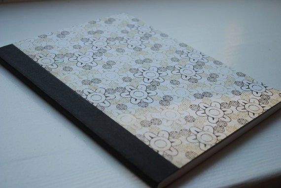 Brown and Beige Flowers Full Sized, Altered Composition Notebook