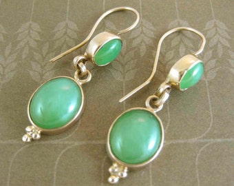 14k Gold Hook Earrings with Chrysoprase