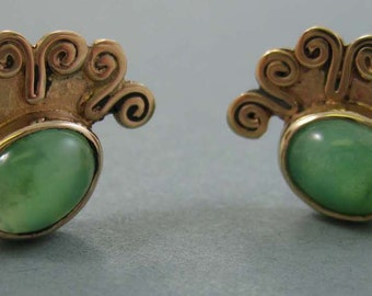 14k Gold Post Earrings with Chrysoprase