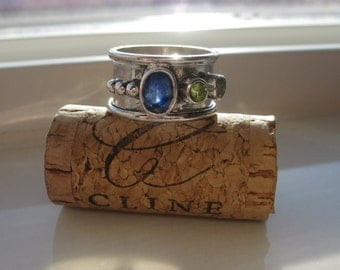 Solid Silver with Blue Sapphire and Peridot Ring