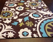 Suzani Printed Table Runner- Teal, Chartreuse, White on Chocolate Brown