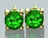 Tsavorite Green Garnet Round Stud Earrings 14K Yellow Gold (1ct tw) : sku 395-14K-YG