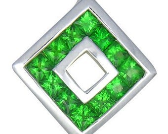 Tsavorite Garnet Small Square Pendant 14K WG (3/4ct tw) : sku 510-14K-Wg