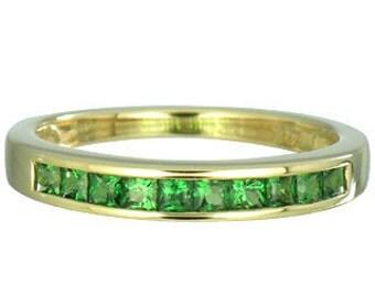 Tsavorite Green Garnet Eternity Band Ring 14K Yellow, White or Pink/ Rose Gold (3/4ct tw) : sku 838-14K