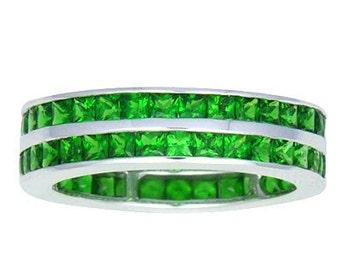 Tsavorite Green Garnet Double Eternity Band Ring 14K White, Yellow or Pink/ Rose Gold (7ct tw) : sku 460-14K