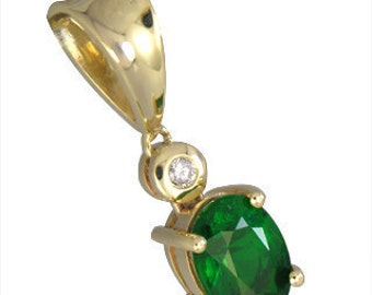 Tsavorite Green Garnet & Diamond Pendant 14K Yellow Gold (2ct tw) : sku 635-14K-YG