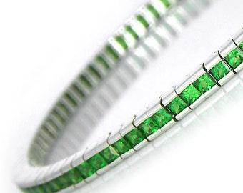 Tsavorite Green Garnet Tennis Bracelet 14K White Gold 7 inches (8ct tw) : sku 397-14K-WG