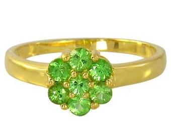 Tsavorite Green Garnet Cluster Ring 14K Yellow, White or Pink/ Rose Gold (1ct tw) : sku 1530-14K