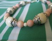 Resin Beaded Peaches and Cream Bracelet Ready to Ship