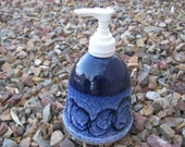 Ceramic Soap Pump,  Hand Lotion Pump with Hand Painted Cobalt Blue, Pottery Lotion Pump, Bathroom Soap Pump, Kitchen Soap Pump