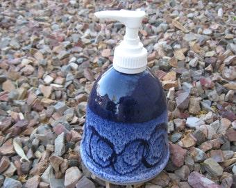 Ceramic Soap Pump,  Hand Lotion Pump with Hand Painted Cobalt Blue, Pottery Lotion Pump, Bathroom Soap Pump, Kitchen Soap Pump