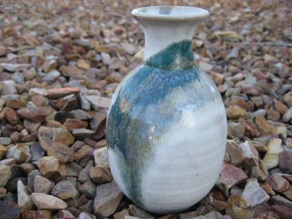 Ceramic Bud Vase, Hand Painted,  Petite Vase