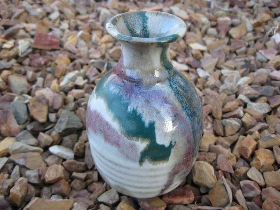 Sandstone Bud Vase, Hand Painted, Petite Vase, Multi Colored Vase , Pottery Vase, Fall Decor, Bud Vase