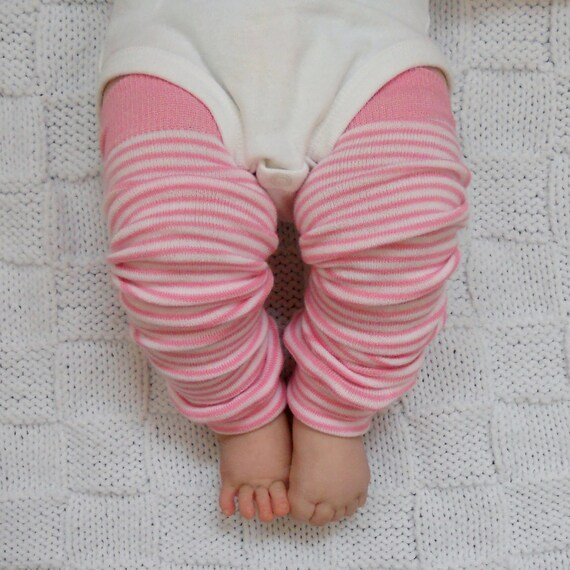 Light Pink and White Striped Adorable Baby Leg Warmers