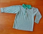 SALE Vintage 1982 Kelly Green Striped Long Sleeve Collar Shirt (3t-4t)