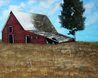 The old red barn 18 x 24 Original acrylic landscape painting