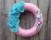 Alice and Mad Hatter Wreath with Felt Flowers