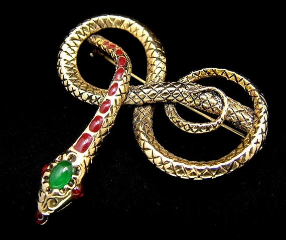 Reserved For Dahlia Vintage Figural Snake Brooch in Gold Tone with Enameled Spots And A Jade Green Stone On It's Head