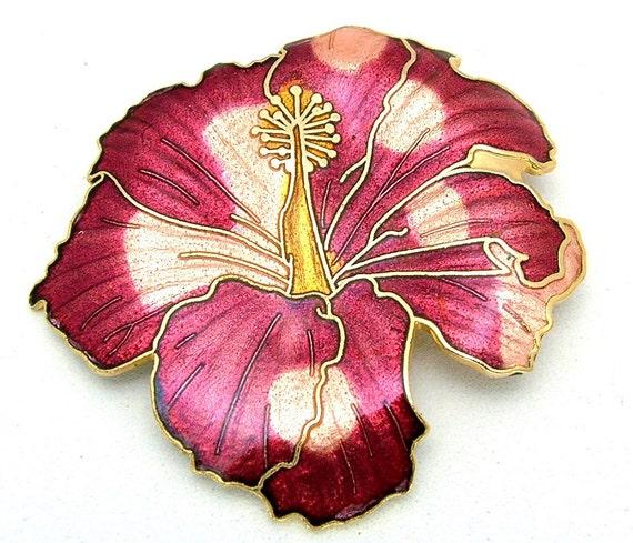 Vintage Enamel Brooch Red Tropical Floral Motif