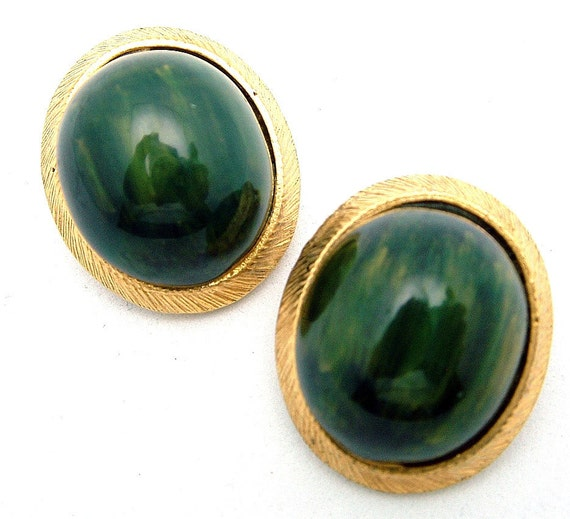 Vintage Earrings Signed CARNEGIE, Large Green Oval Cabochons