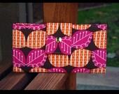 handmade vegan wallet flowers orange brown and pink leaves
