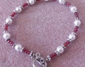 Pink and Pearls Toggle Closure Bracelet