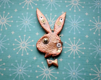 Steampunk, Playboy, Polymer, Clay, Pendant, Bronze Effect, OOAK, Cogs, Gears, Watch, Parts, Rabbit, Head, Necklace, One of a Kind