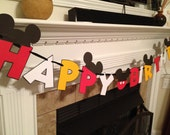 Mickey Mouse Inspired Happy Birthday Banner in Red, White and Gold with real buttons